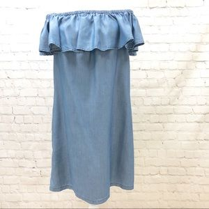 Chambray Off The Shoulder Dress by Tommy Bahama